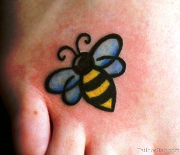 Marvelous Bee Tattoo On Foot