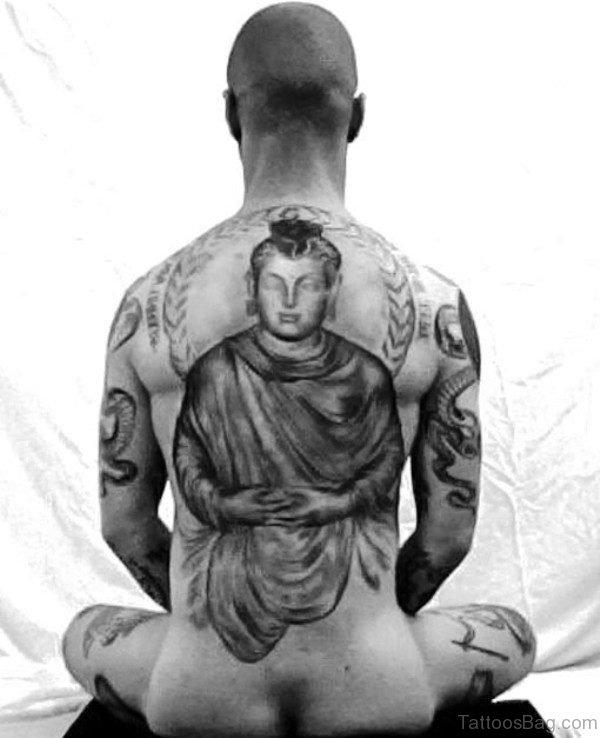 Marvelous Buddha Tattoo On Back