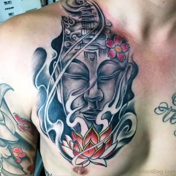 Marvelous Buddha Tattoo On Chest