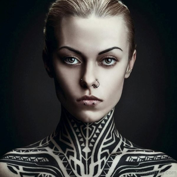Marvelous Tribal Neck Tattoo