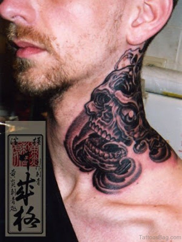 Marvelous Tribal Tattoo On Neck