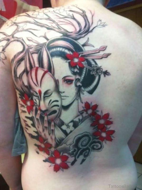Mask And Geisha Tattoo On Back