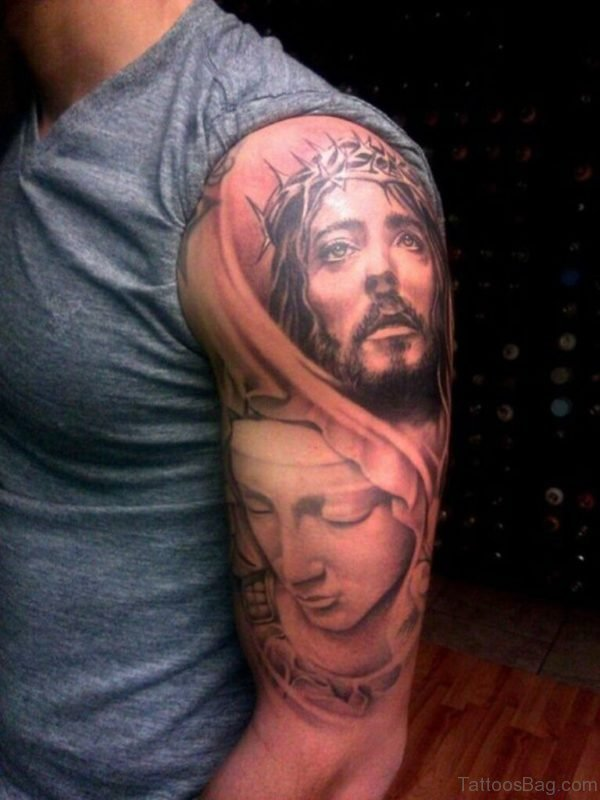 Mask And Jesus Tattoo