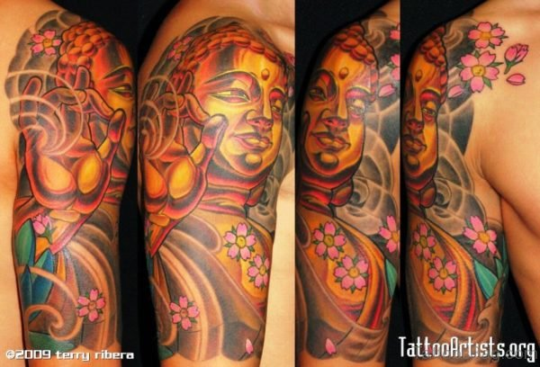 Massive Buddha Tattoo With Flowers