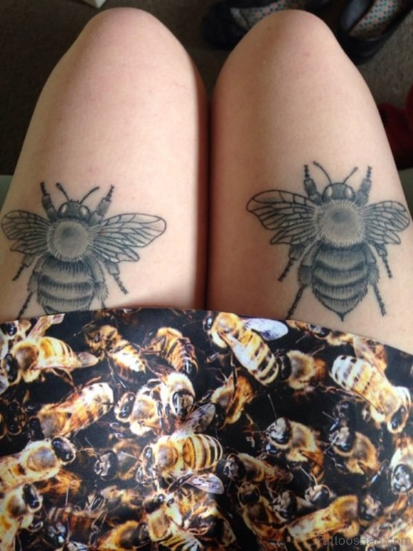 Matching Bee Tattoos On Thigh For Girls