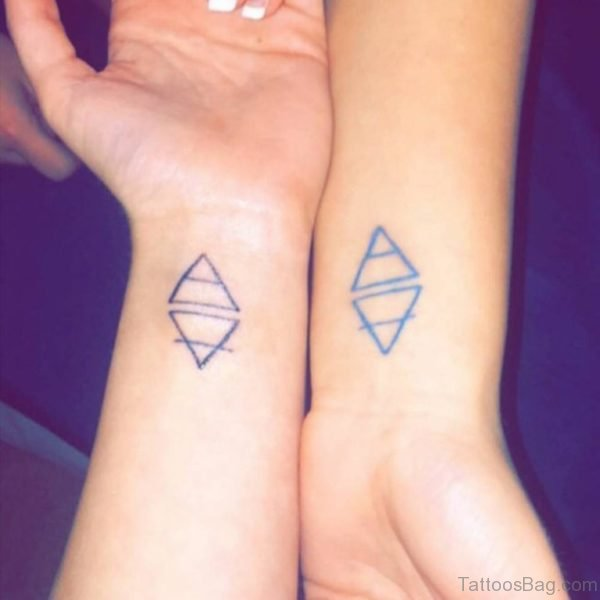 Matching Triangle Wrist Tattoo