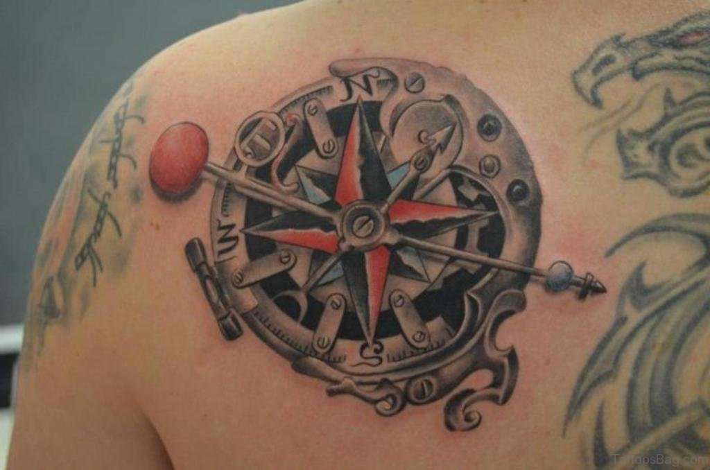 c3e83c059 Map Compass And Butterfly Tattoos. Mechanical Compass Tattoo On Left Back  Shoulder