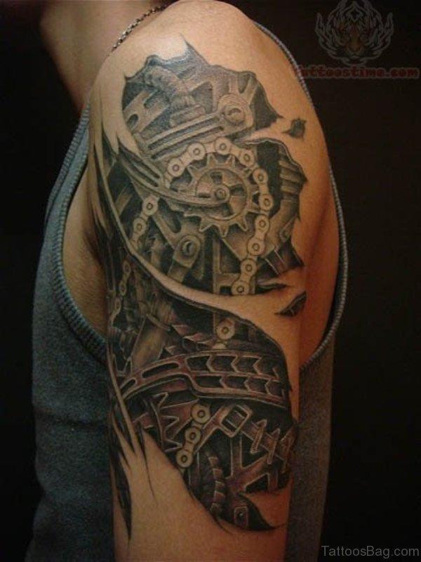 Mechanical Half Sleeves Shoulder Tattoo
