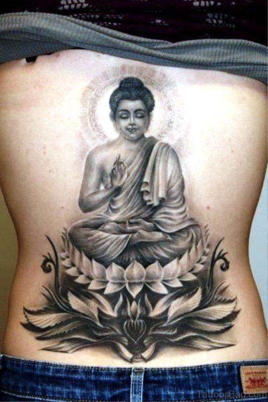 Meditating Buddha On Lotus Tattoo