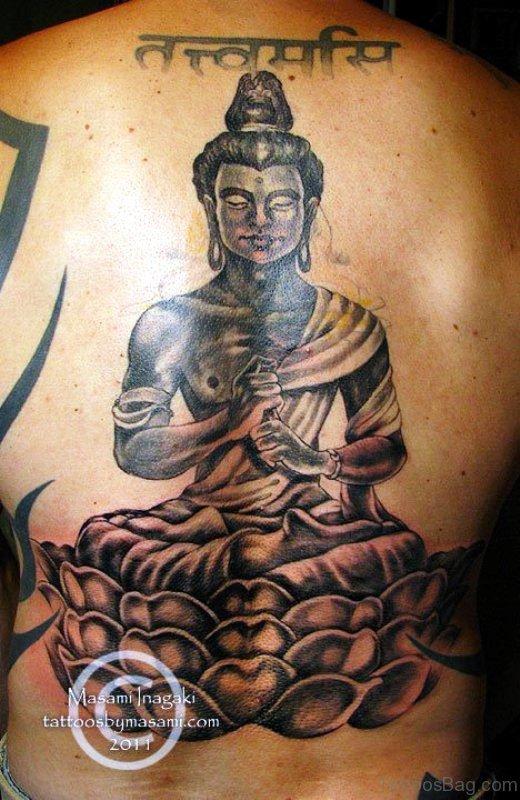Meditating Buddha Tattoo On Back