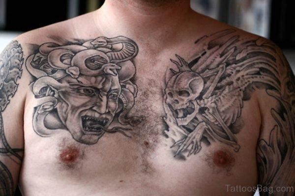 Medusa And Mechanical Skull Tattoos On Chest