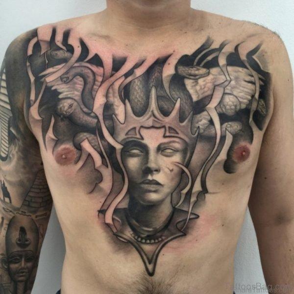 Medusa Head Tattoo Design On Chest