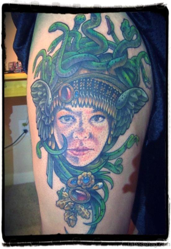 Medusa Head Tattoo On Thigh