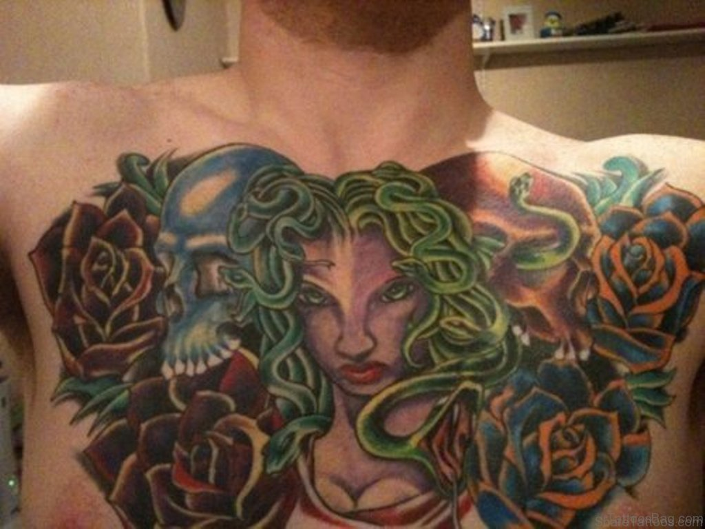 40 marvelous medusa tattoos for chest. Black Bedroom Furniture Sets. Home Design Ideas
