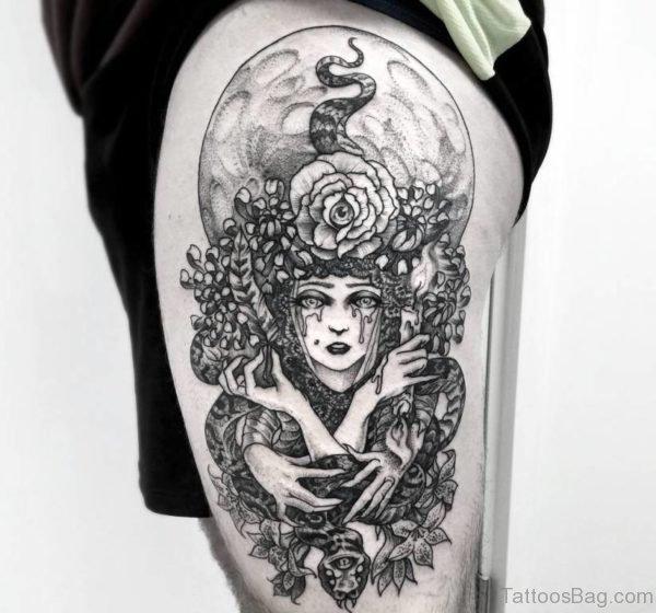 Medusa Tattoo Design On Thigh