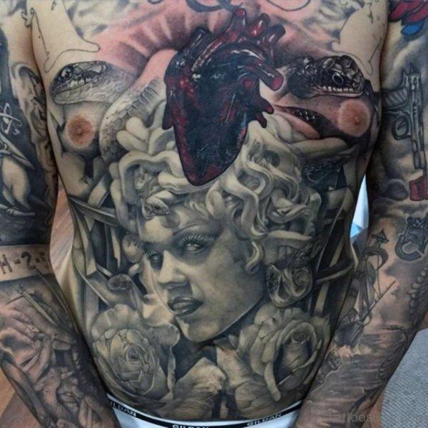 Medusa Tattoo On Full Chest