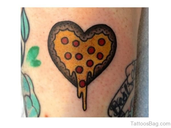 Melting Heart Shape Pizza Tattoo Design For Leg