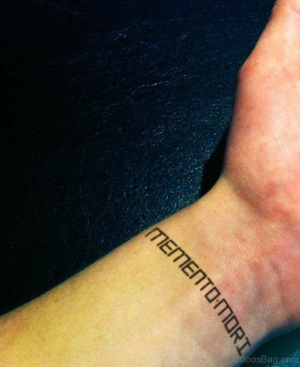 Mementomori Ambigram Tattoo on Wrist