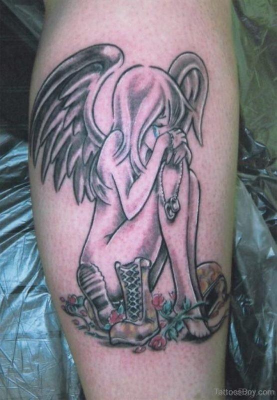 Memorial Angel Tattoo On Leg