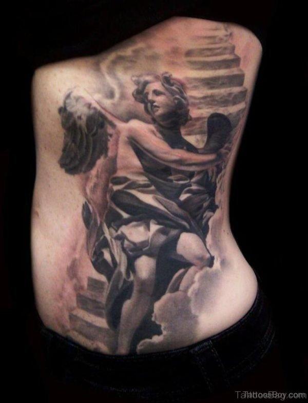 Memorial Angel Tattoo On Rib