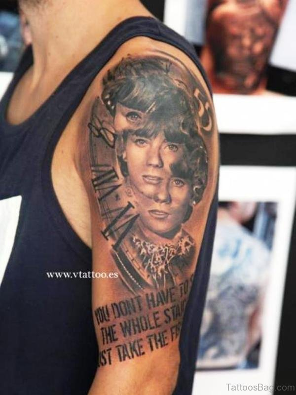 Memorial Clock Shoulder Tattoo