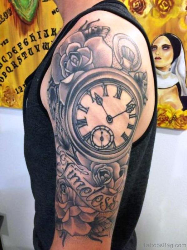 Memorial Clock Tattoo Design