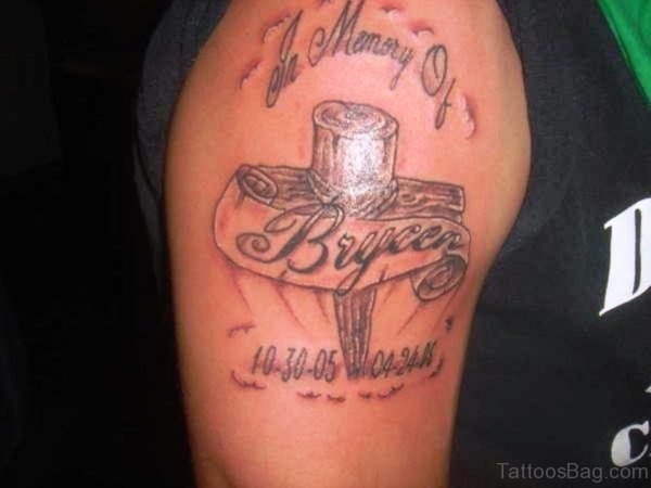 Memorial Cross Shoulder Tattoo