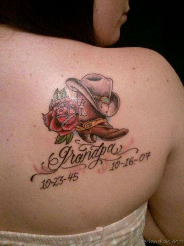 Memorial Grandpa Tattoo On Shoulder Back