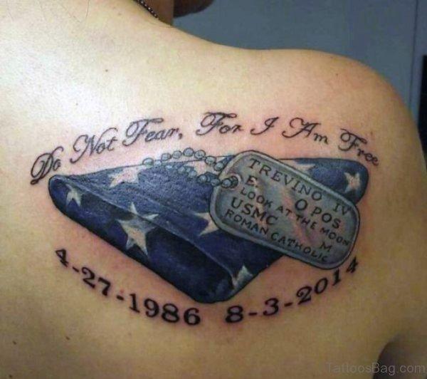 Memorial Shoulder Blade Tattoo