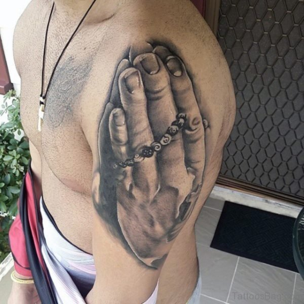 Nice Rosary And Praying Hands Tattoo