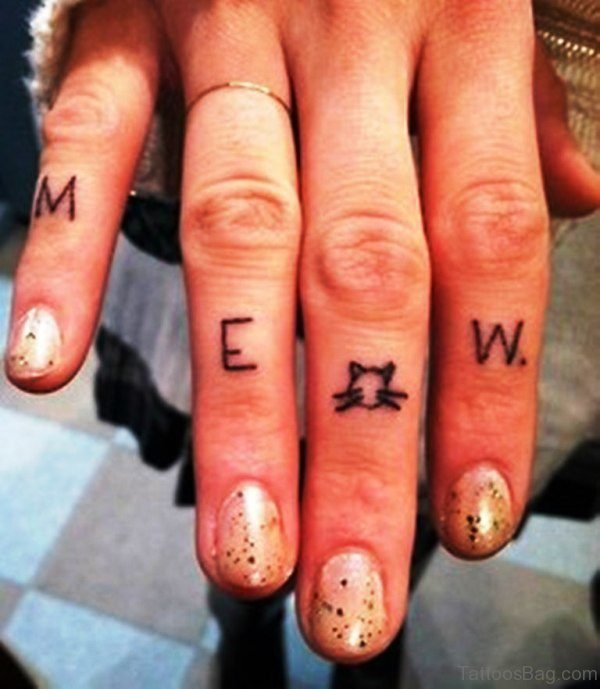 Meow Tattoo On Finger