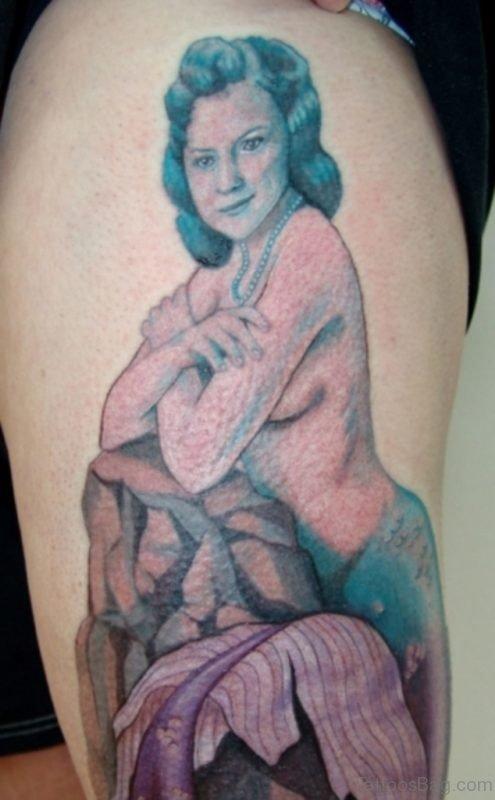 Mermaid Portrait Tattoo On Thigh
