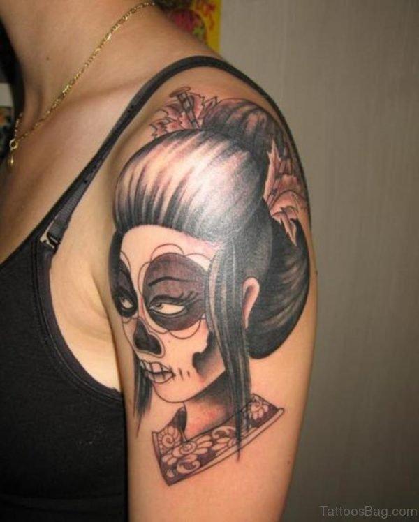 Mexican Skull Geisha Tattoo