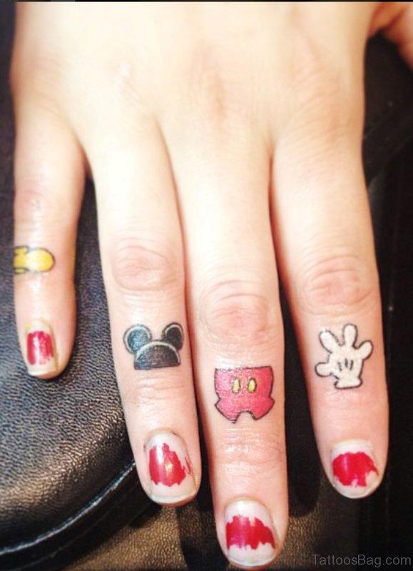 Mickey Tattoo On Fingers