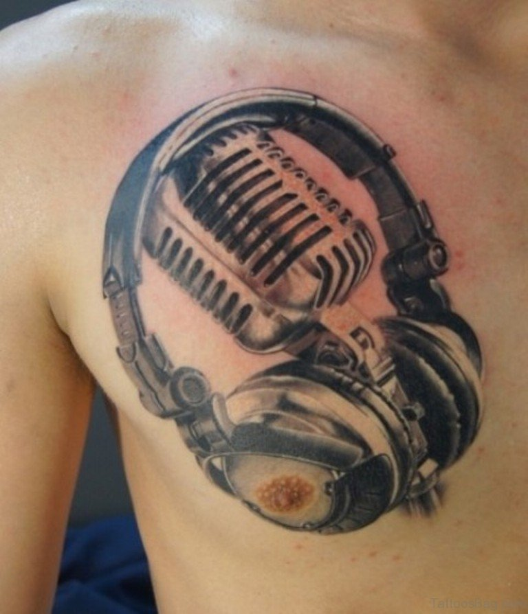 Cassette And Headphones Tattoo: 44 Magnificent Music Tattoos On Chest