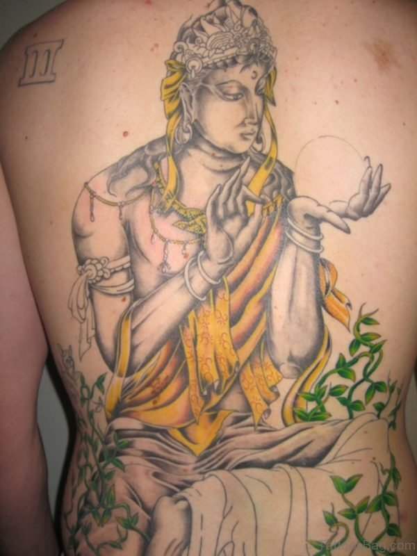 Mind Blowing Buddha Tattoo On Back