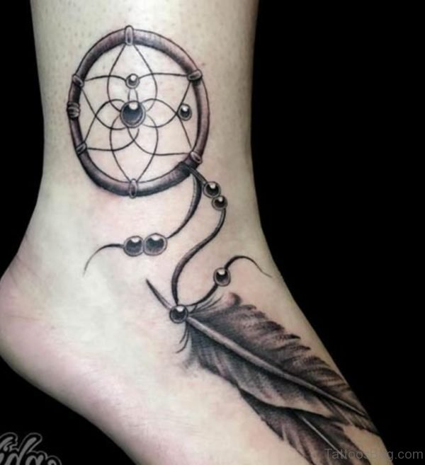 Mind Blowing Dreamcatcher Tattoo On Ankle