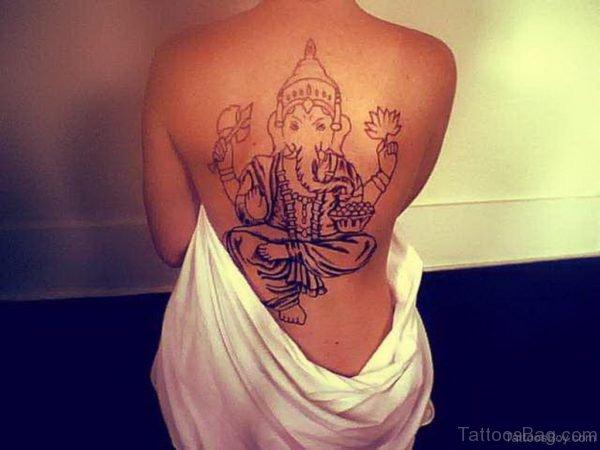 Mind Blowing Ganesha Tattoo On Back