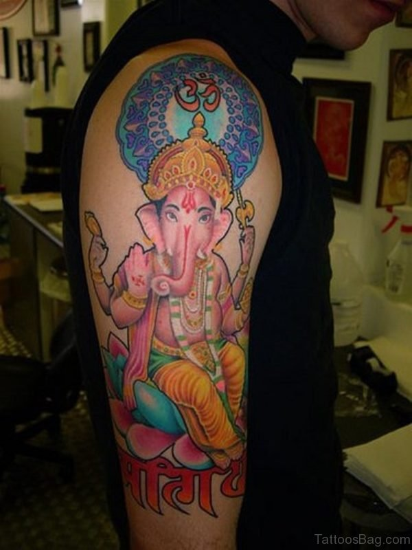 Mind Blowing Ganesha Tattoo On Shoulder
