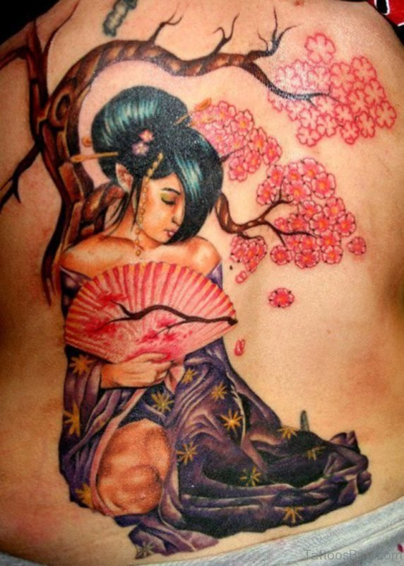 Mind Blowing Geisha Tattoo On Back