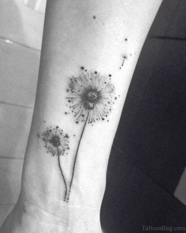 Minimalistic Dandelion Tattoo On Wrist