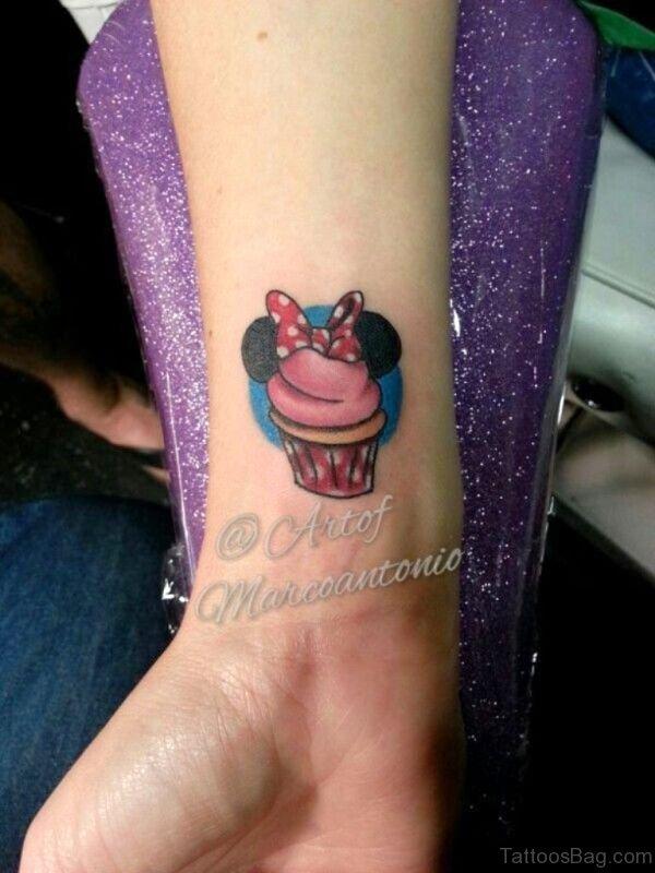 Minnie Cupcake Tattoo On Wrist