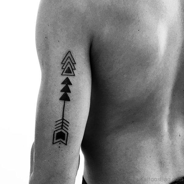 Monochrome Triangle Arrow Tattoo On Arm