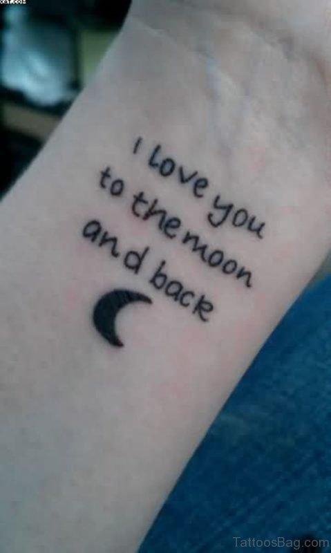 Moon Wording Tattoo For Wrist