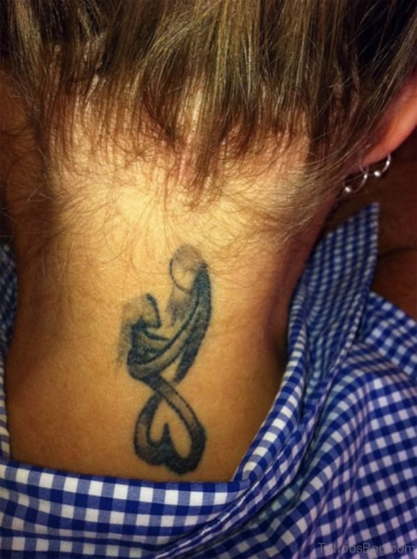 Mother Daughter Love Tattoo On Neck