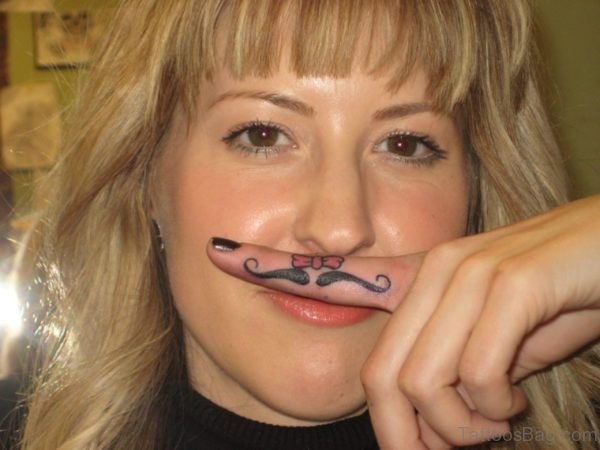 Mustache Finger Tattoo Design
