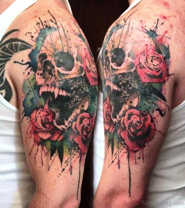 Multicolor Skull Shoulder Tattoo
