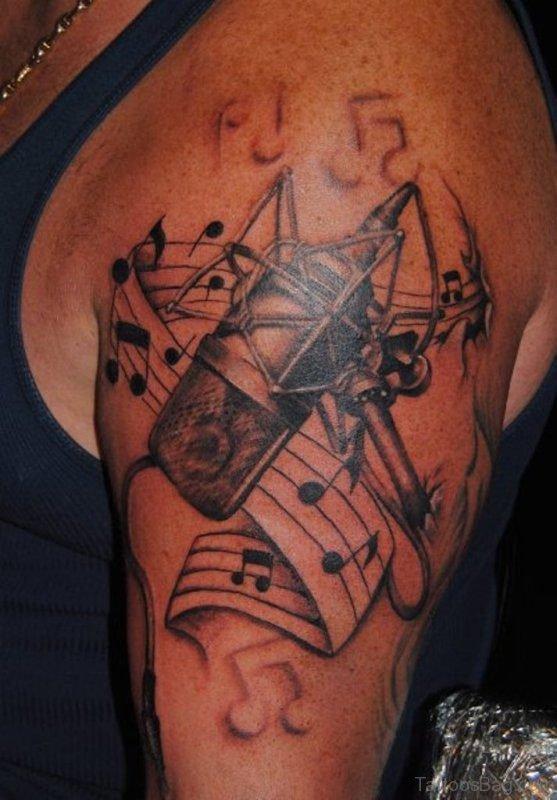 Music And Mic Tattoo