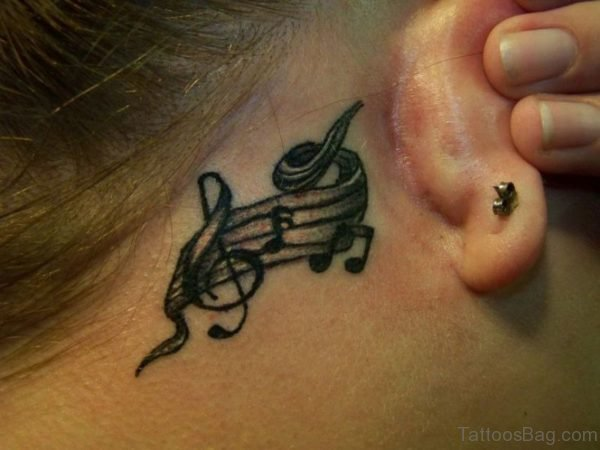 Music Neck Tattoo Behind Ear