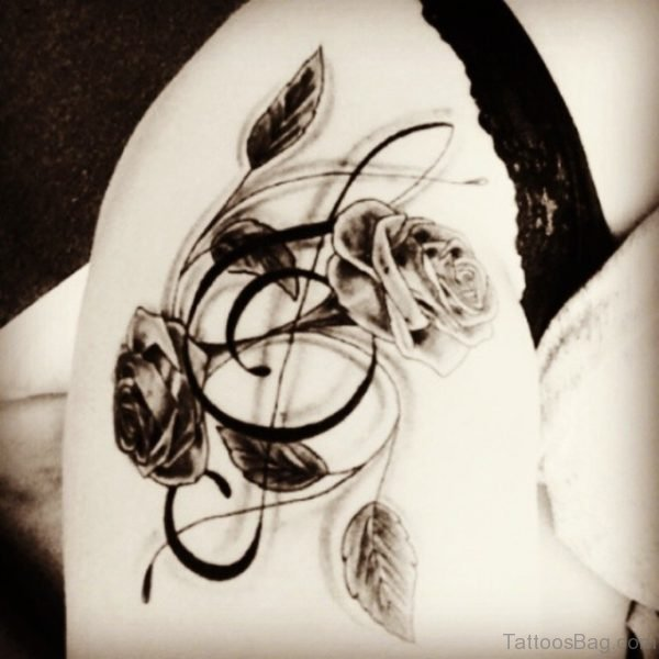 Music Note And Rose Tattooo